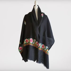 """Large Embroidered Shawl Wrap Scarf 79"""" x 26"""
